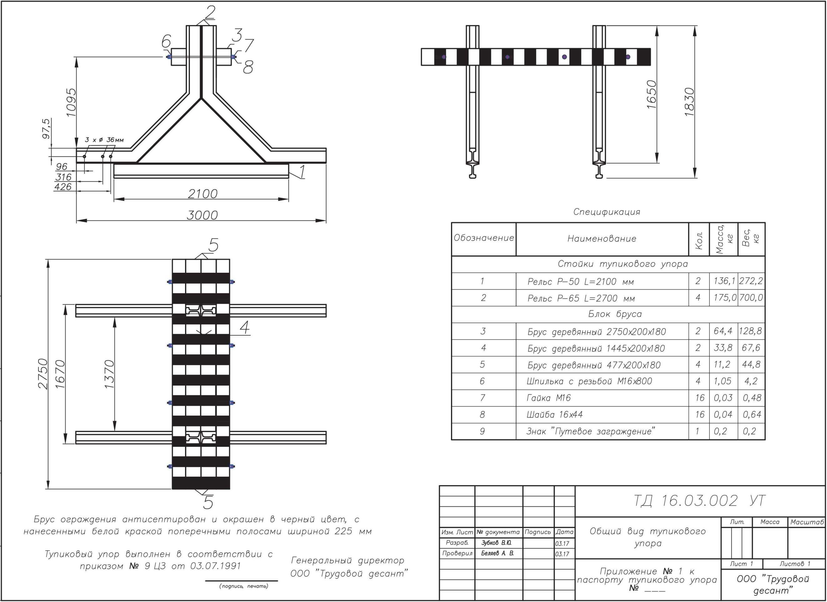 Чертёж 1 Железнодорожный рельсовый путевой тупиковый упор