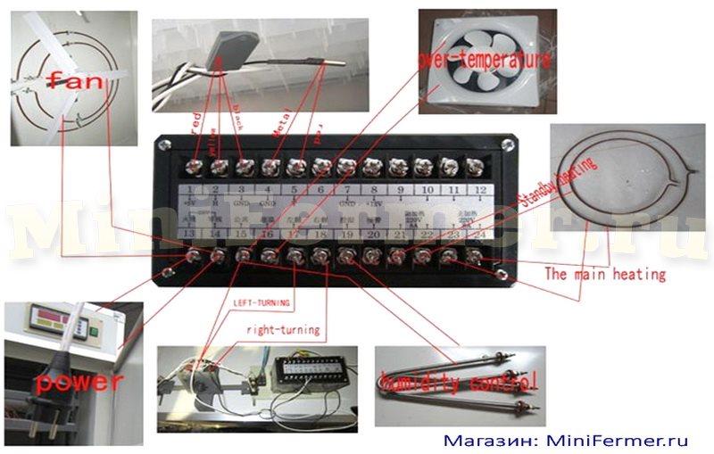 Схема подключения контроллера для инкубаторов XM-18