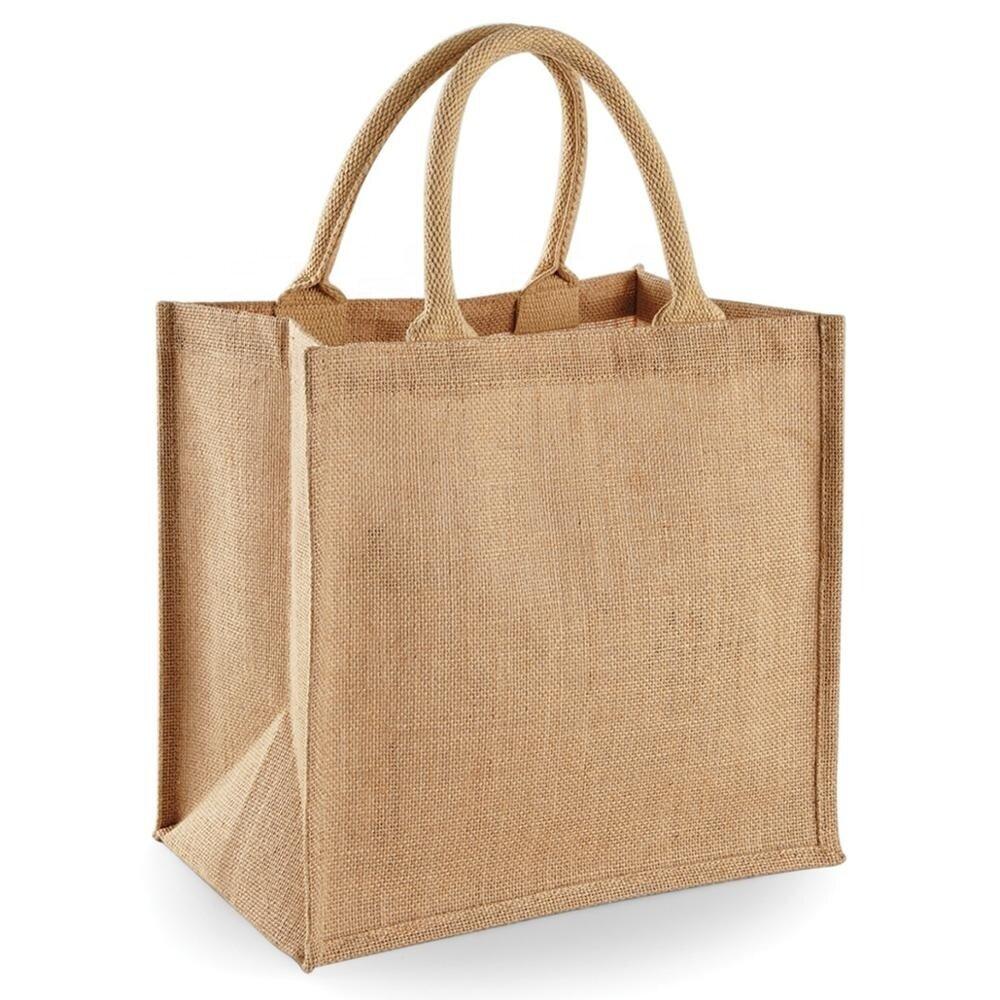 Сумка из джутовой ткани 45x35x14 см - фото джутовая сумка