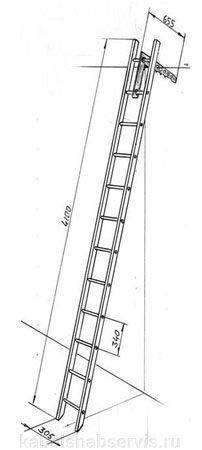 Лестница пожарная штурмовая металлическая, ручная трехколенная, пожарная-палка металлическая - фото 1
