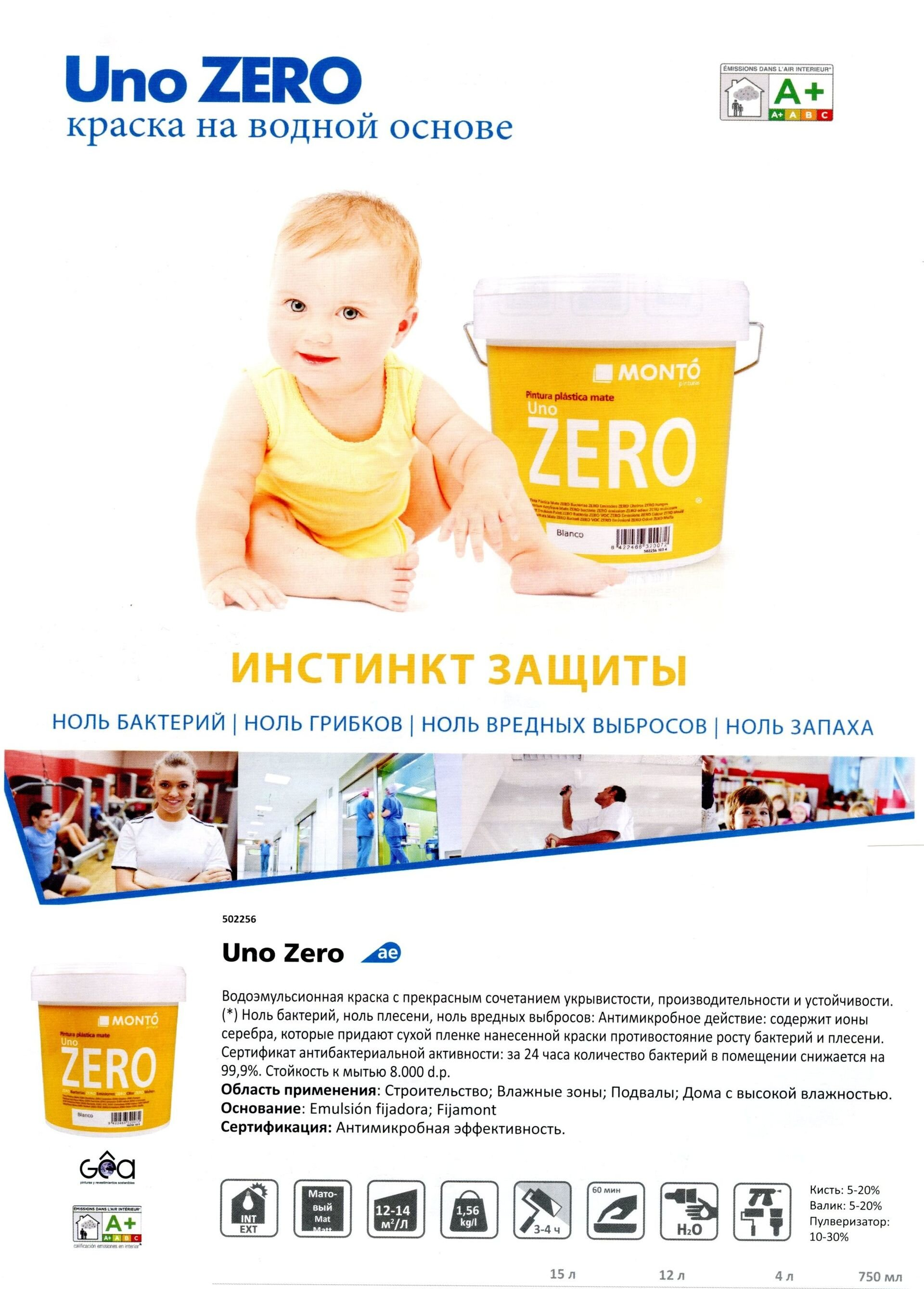 Краска для детской антибактериальная Monto Uno Zero Blanco 0,75 - фото pic_c1f66effde5b2a7_1920x9000_1.jpg