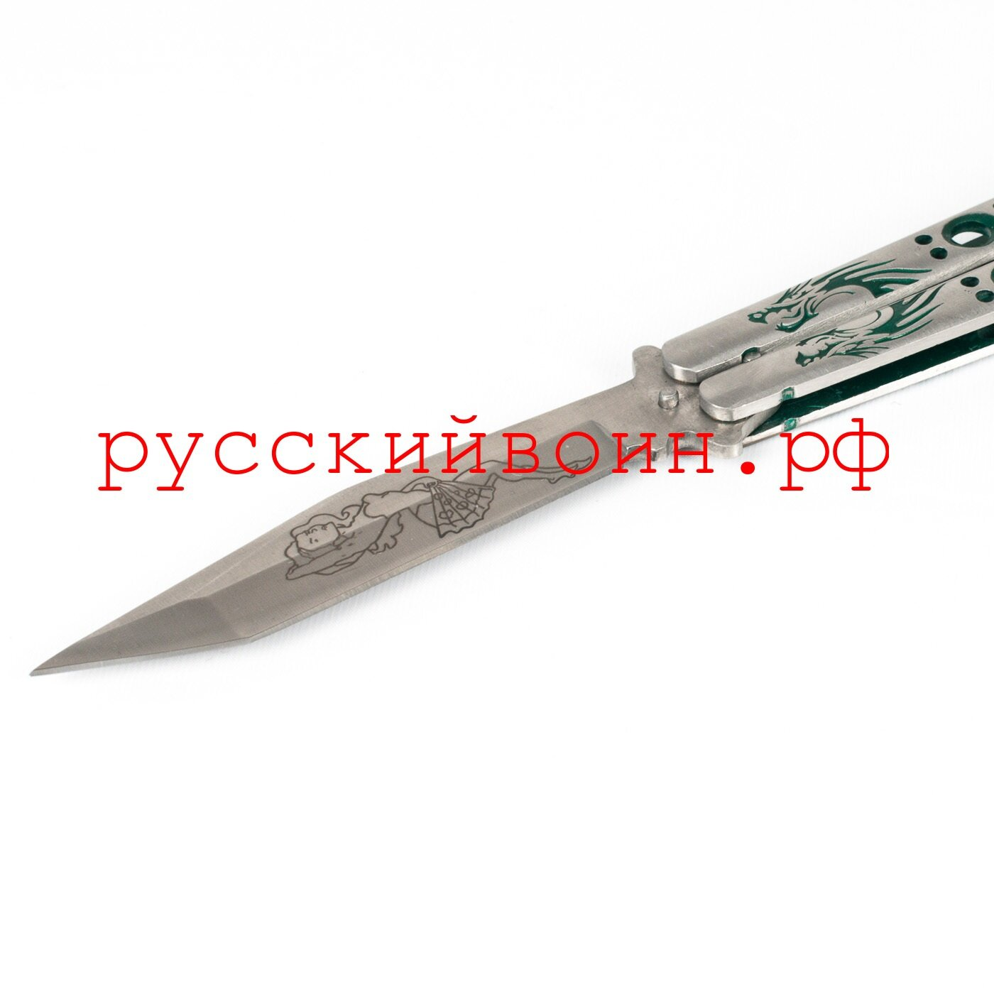 Нож-бабочка Зеленый Танто