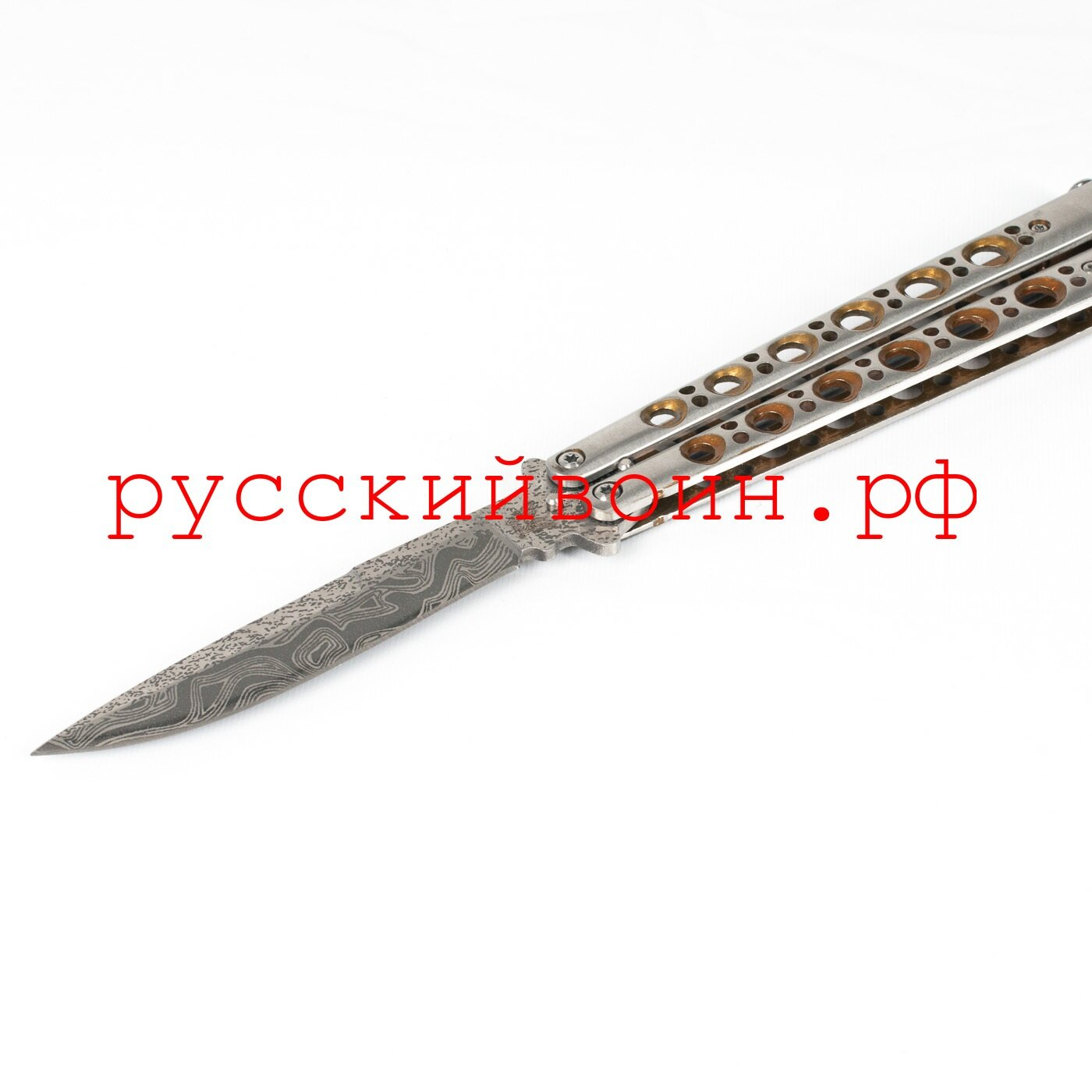Нож-бабочка Дамасск Gold