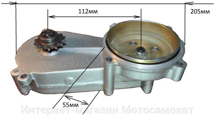 Редуктор 3:1 цепной, понижающий, для веломотора или снегоката - фото Размеры редуктора 3:1 показаны на фото