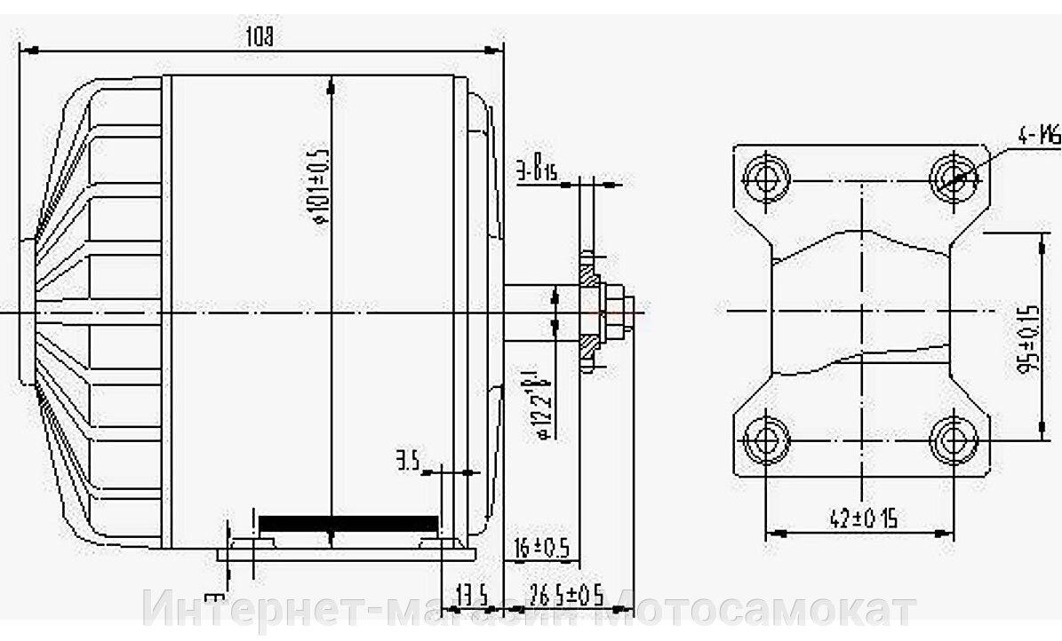 Электро двигатель MY1016 для электросамоката, 24 вольта 300 ватт - фото Размеры электромотора MY1016