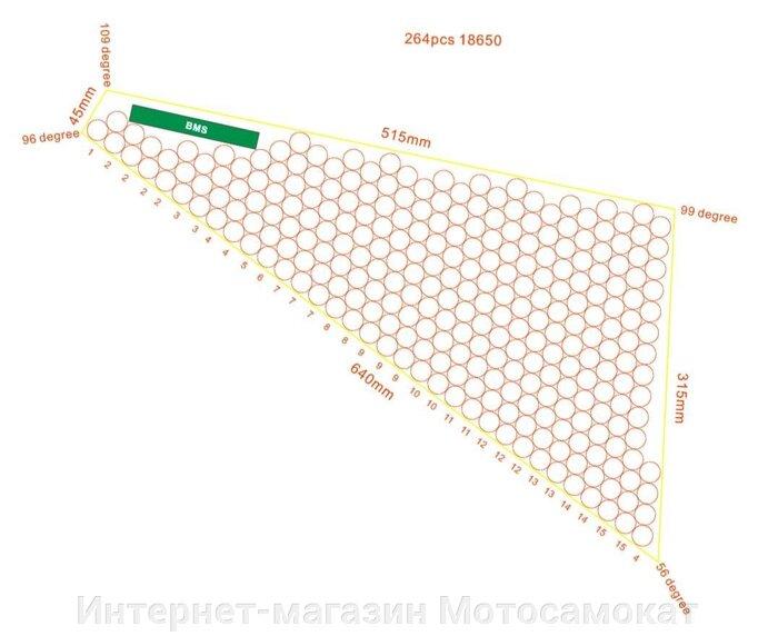 Треугольный литиевый аккумулятор Li-Ion (Li-NCM) 72v 18Ah для электровелосипеда