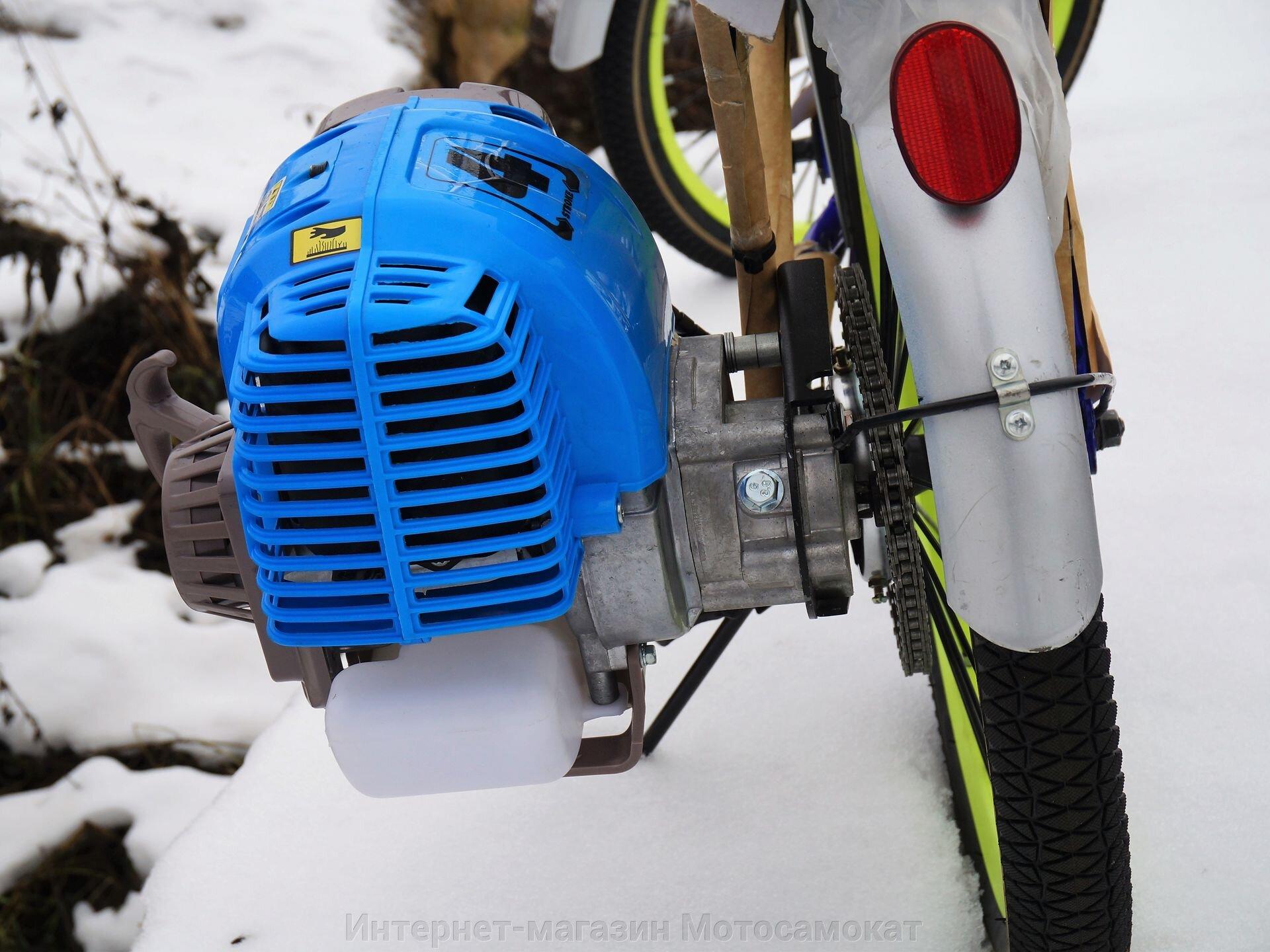 Велосипед с бензиновым четырехтактным мотором Мотакс Лампа, складной 20 дюймов. - фото Редуктор 5:1 в составе веломотора Мотакс Лампа 4Т