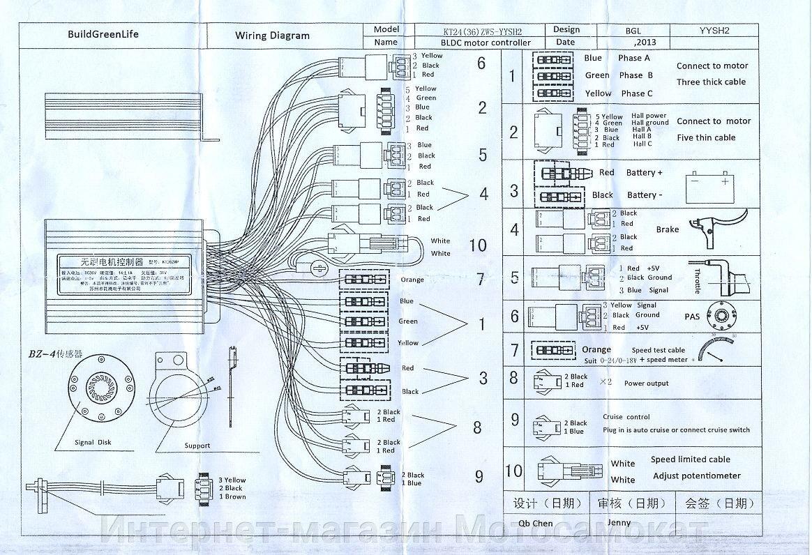 Схема подключения Контролер MXUS 48В 30А (KT48SVPRL-XFC15) + Дисплей KT-LCD3