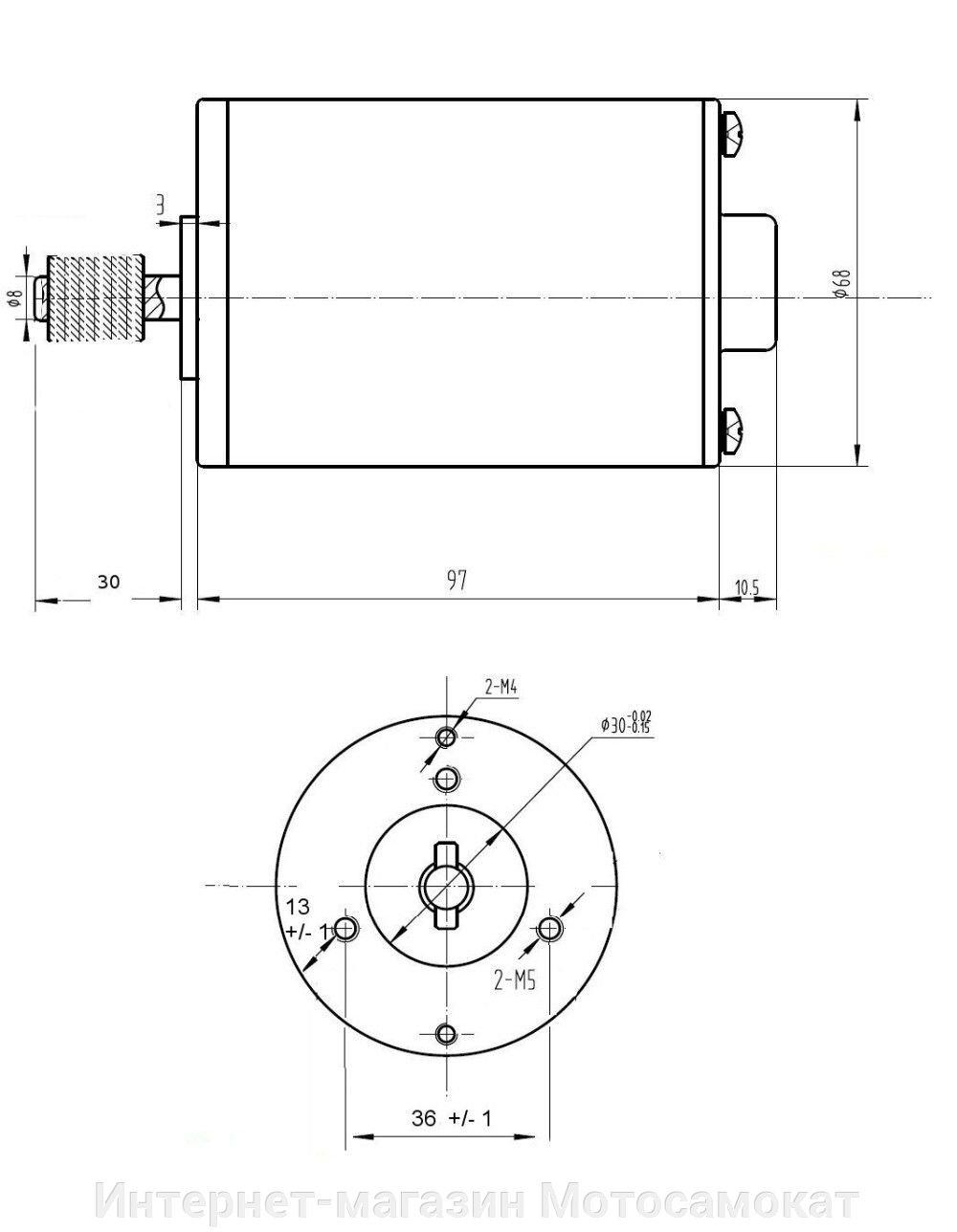 Электро двигатель MY6812 для электросамоката, 24 вольта 120 ватт - фото Размеры электромотора MY6812