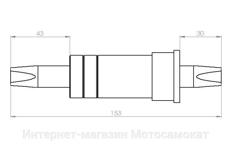 Каретка длиной 153 мм. для педальной системы с обгонной муфтой.