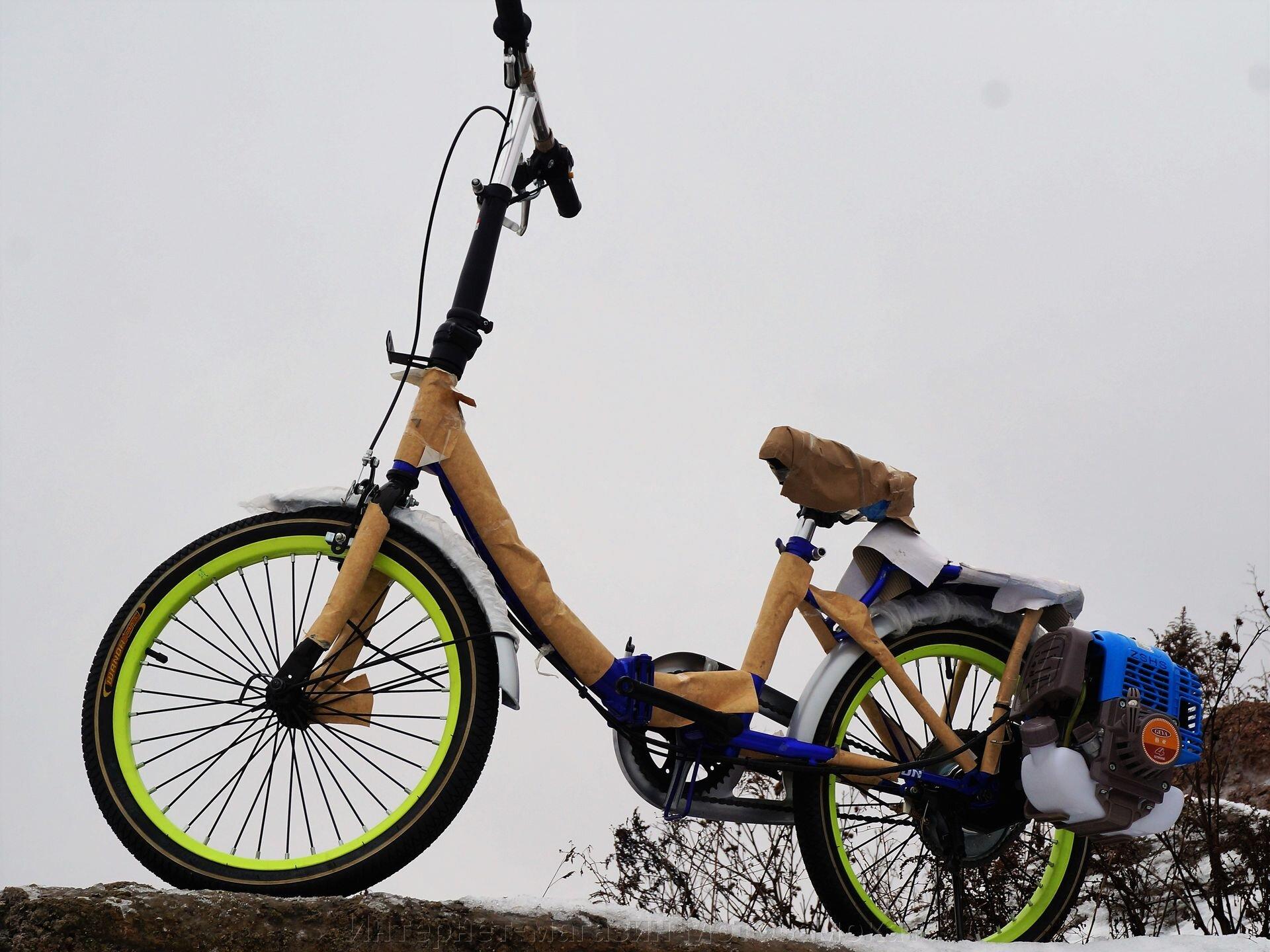 Велосипед с бензиновым четырехтактным мотором Мотакс Лампа, складной 20 дюймов. - фото Велосипед с бензиновым четырехтактным мотором Мотакс Лампа, складной 20 дюймов.