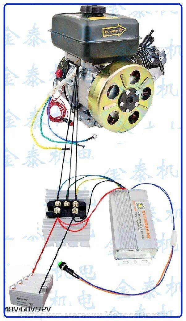 Бензогенератор постоянного напряжения для гибридов, 48-72 вольта, 4000 ватт подключение контроллера.
