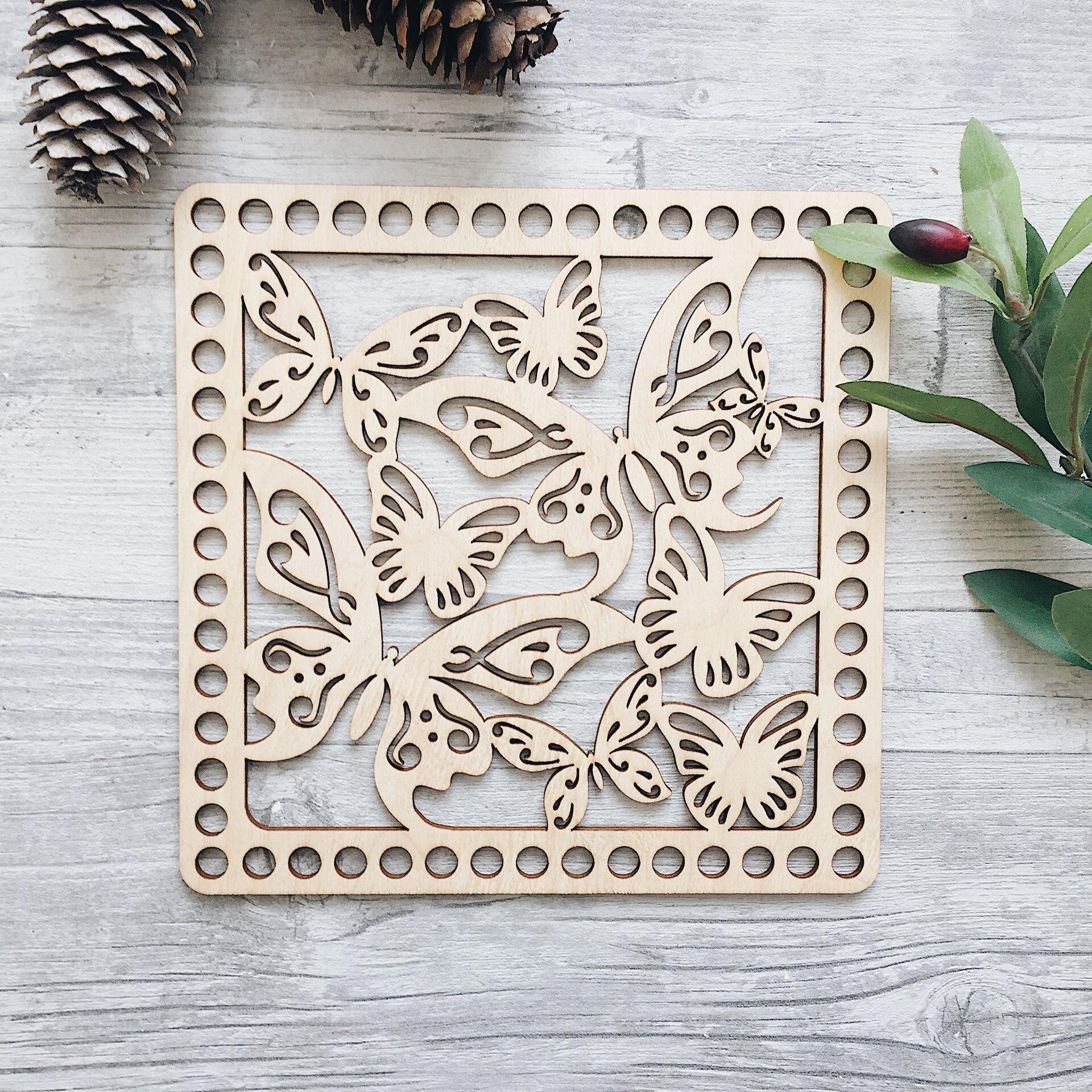 Деревянная резная крышка для корзинки, квадрат с бабочками 20см - фото pic_4aabac379040339_1920x9000_1.jpg