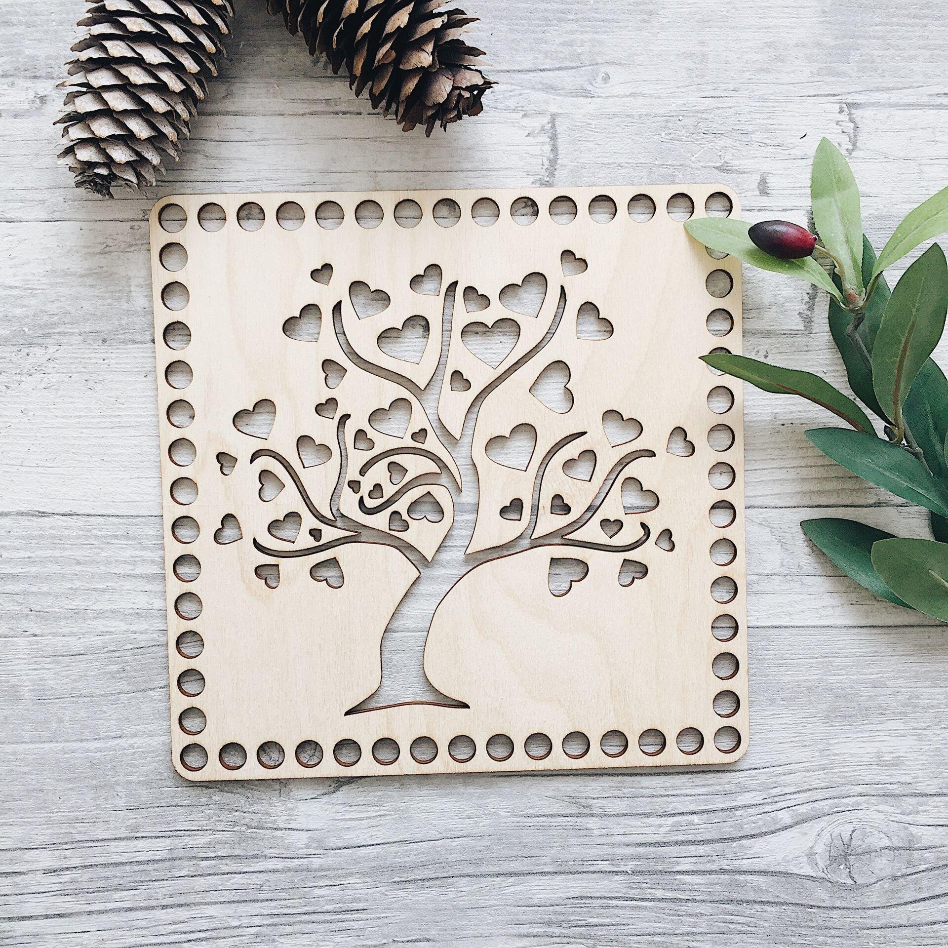 Деревянная резная крышка для корзинки, квадрат с деревом 20см - фото pic_28f46f6f1a469c2_1920x9000_1.jpg