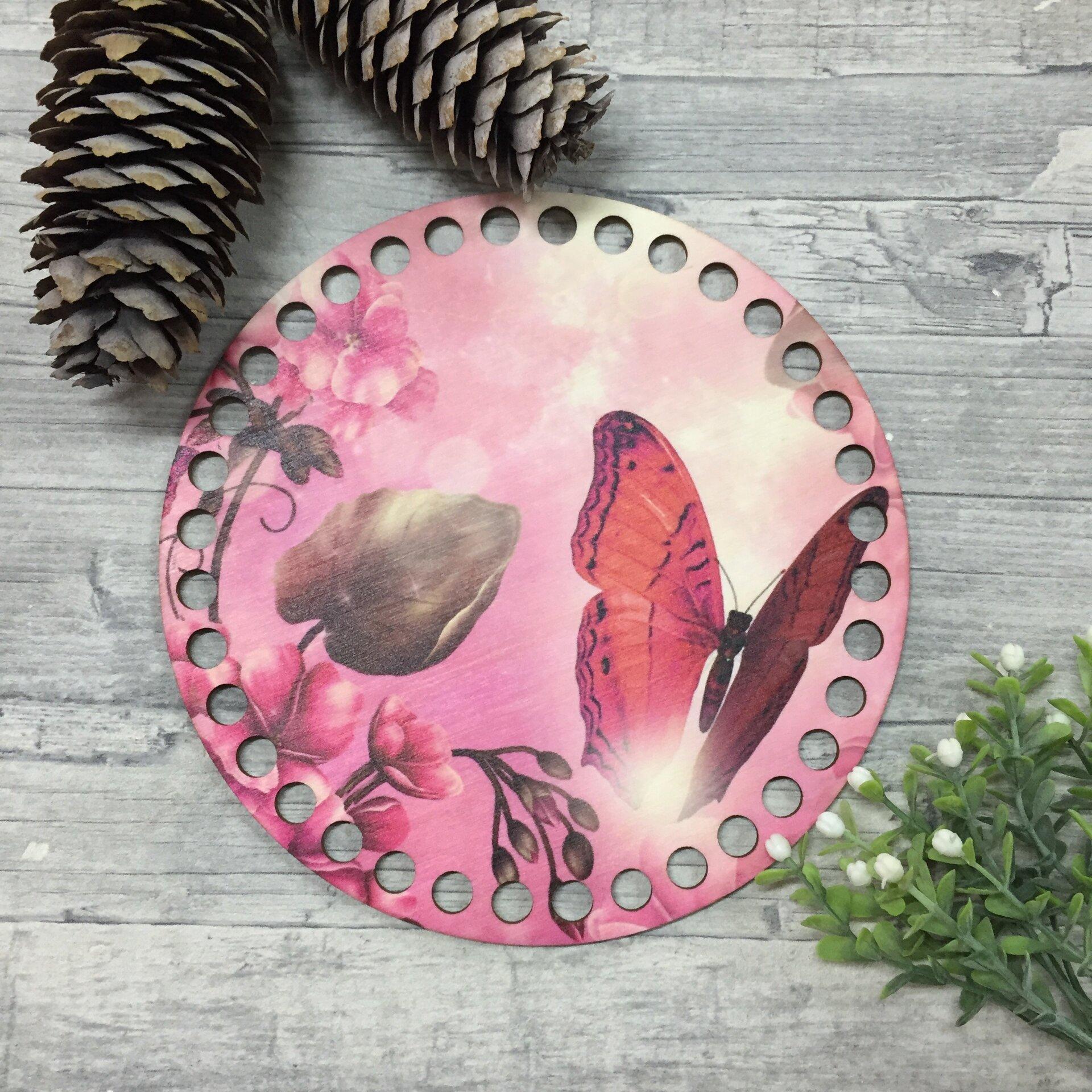 """Донышко/крышка с цветной печатью """"Бабочка на розовом фоне"""" 17см - фото pic_971fb09e59a852c51c46fa4e725654a3_1920x9000_1.jpg"""
