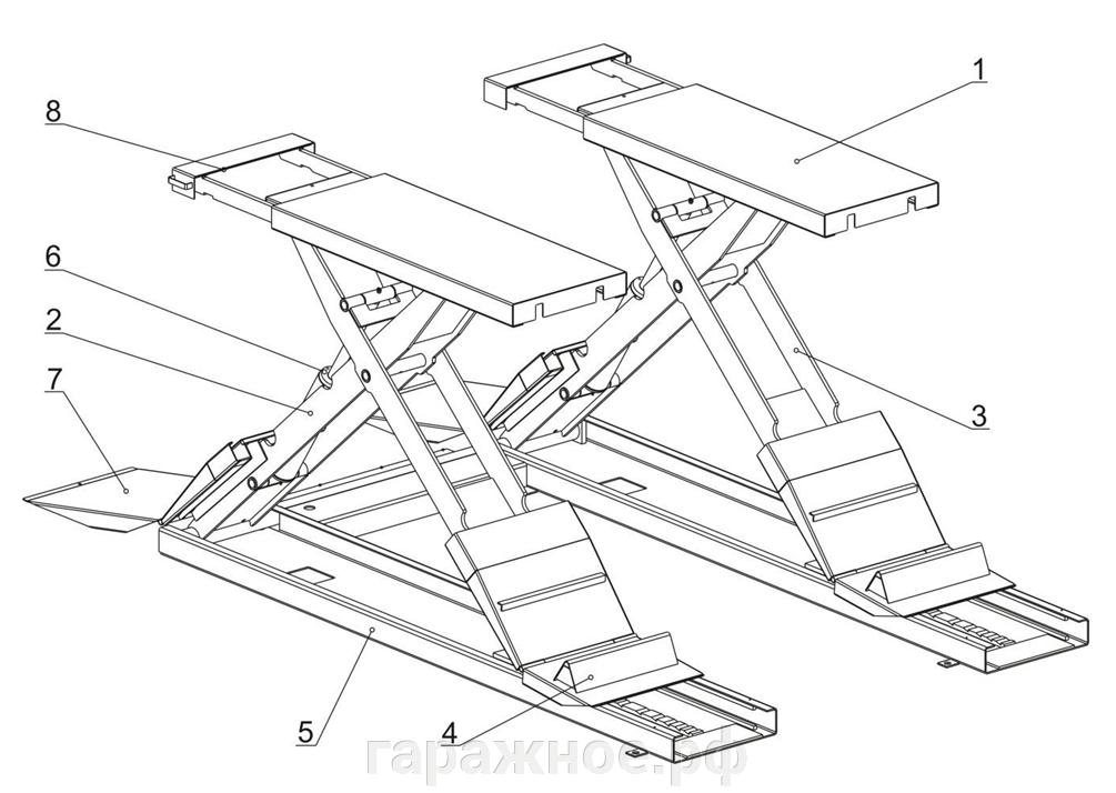 Автоподъемник ножничный 3 т. - фото Автоподъемник ножничный ПГН 3000