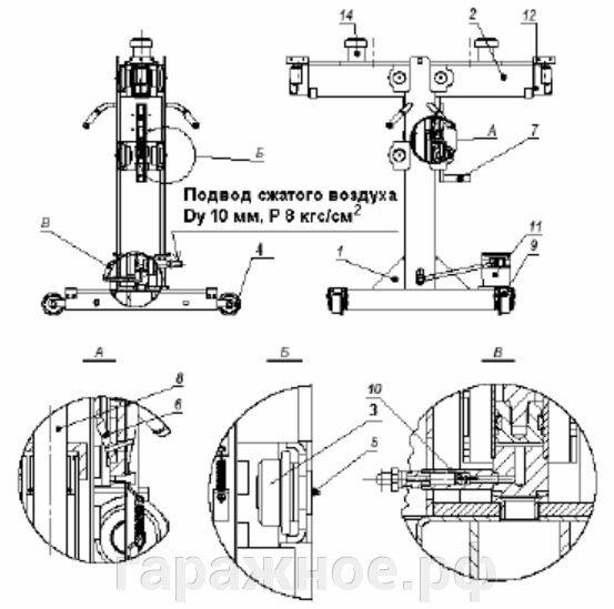 Автомобильный канавный подъемник ПРК-16