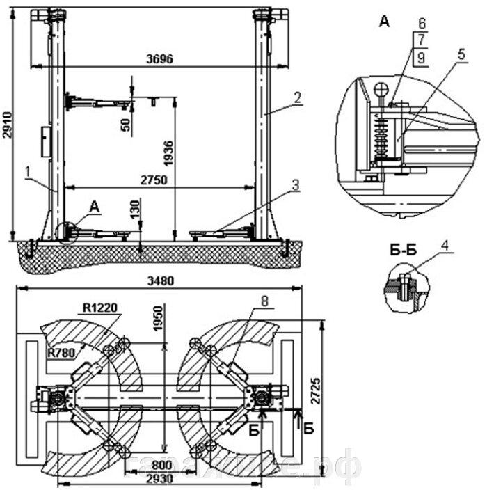 Автомобильный подъёмник, ПЛД-5, 5т. - фото Автомобильный подъемник ПЛД-5