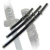 Набор самурайских мечей (Дайсё) 3 шт., черные ножны - фото pic_835e87f5337fc9f_700x3000_1.jpg