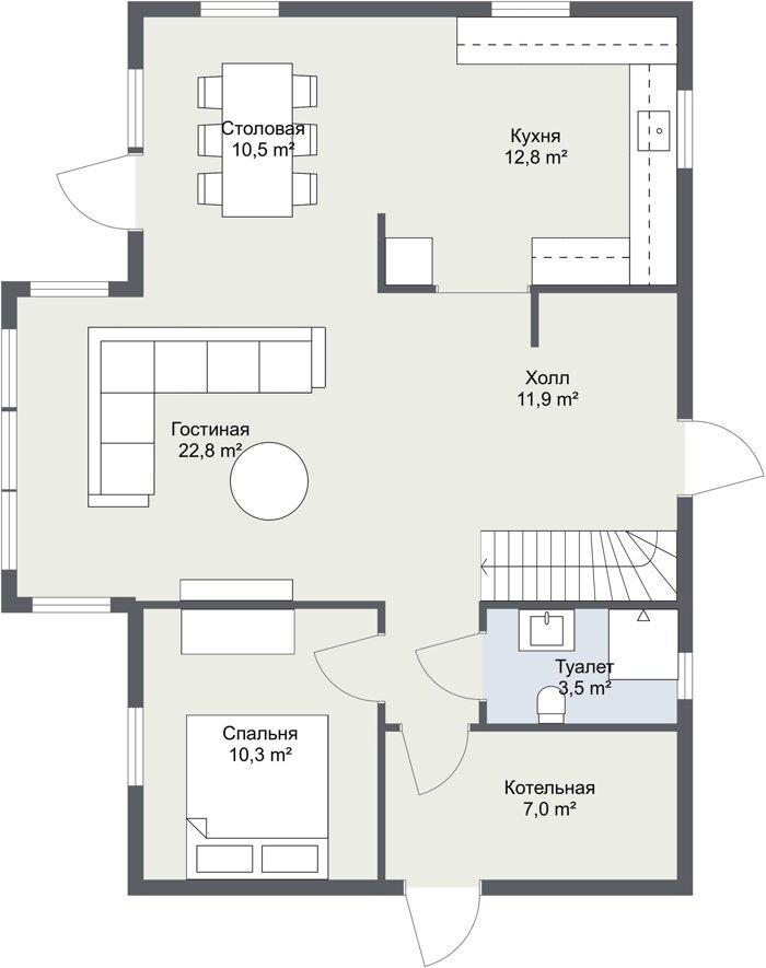 Планировка 1,5 этажного каркасного финского дома Лунд