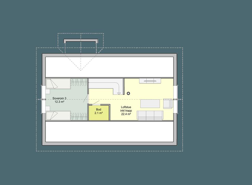 Планировка мансардного этажа каркасного дома Смарт 2