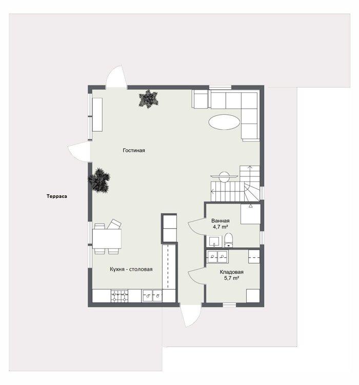Ольберга, планировка первого этажа