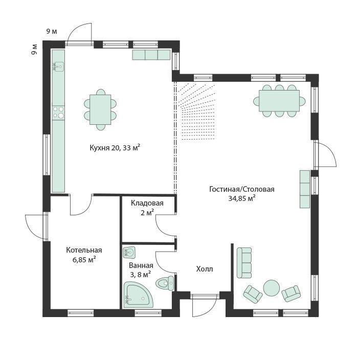 1-й этаж каркасного финского дома Архольм