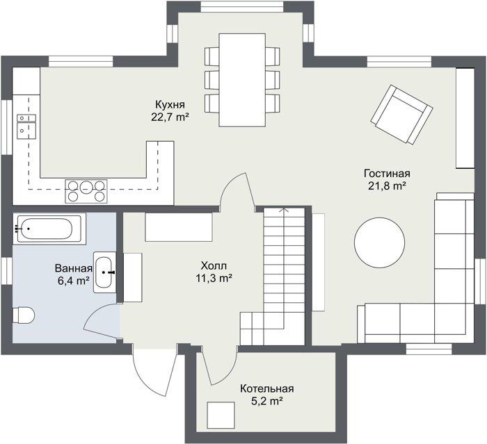 Планировка каркасного дома Хоф 1 этаж
