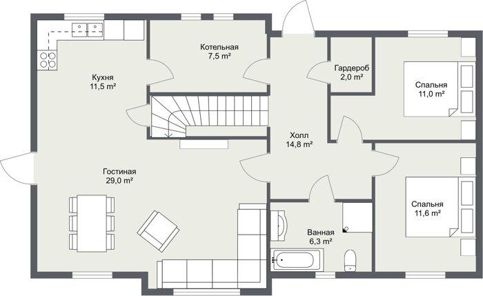 Каркасный дом Норма 1 этаж планировка
