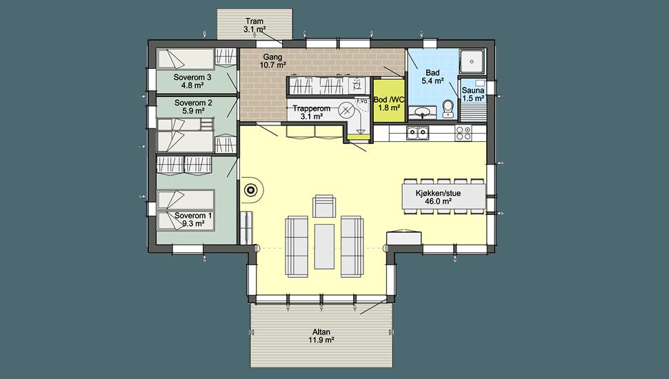 Планировка норвежского каркасного дома Смарт 4