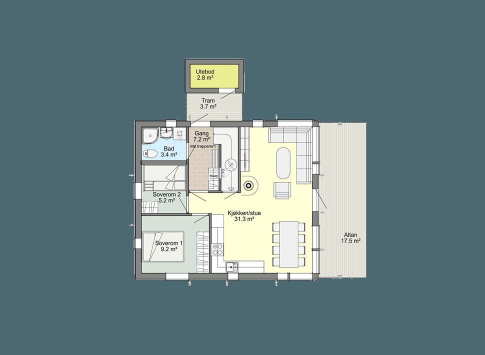 Планировка 1 этажа каркасного дома Смарт 1С