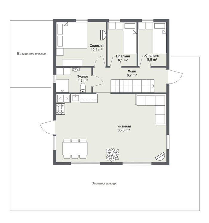 Карлстад - планировка первого этажа каркасного дома