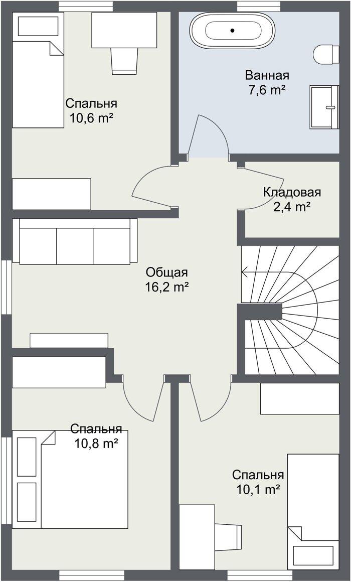 Планировка 2 этажа финского каркасного дома Фолкан