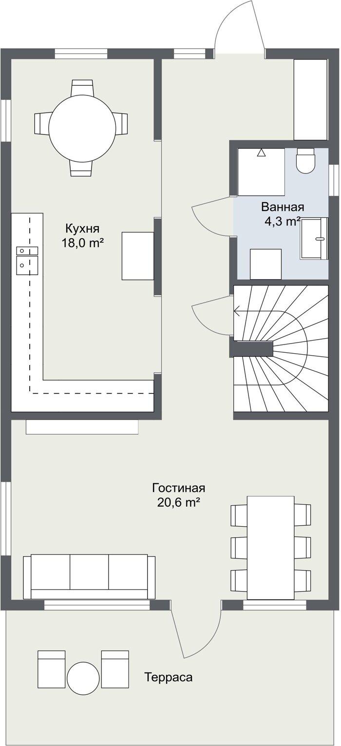 Планировка 1 этажа финского дома Фолкан