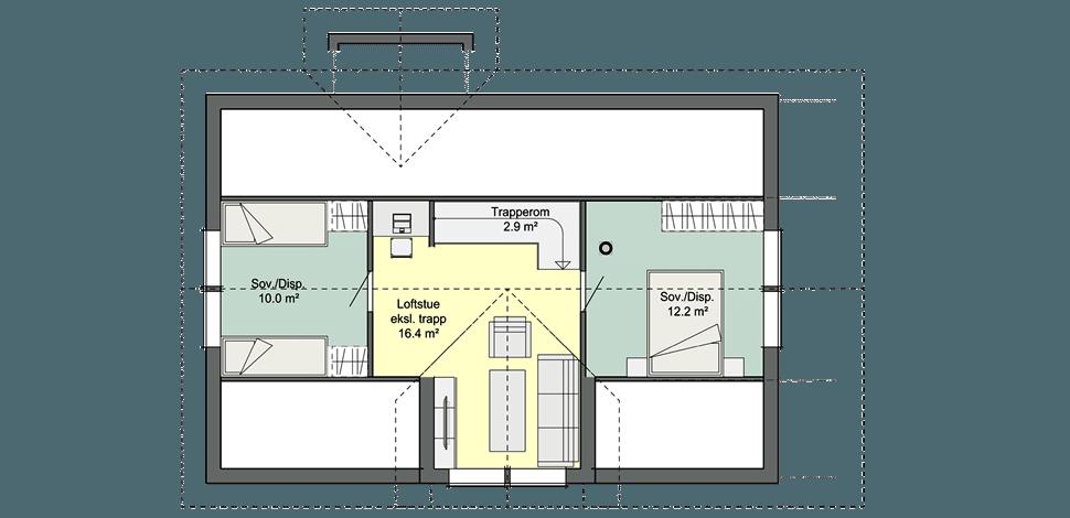 Планировка мансарды норвежского каркасного дома Смарт 2С