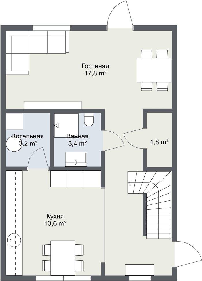 Планировка первого этажа финского проекта Даллин