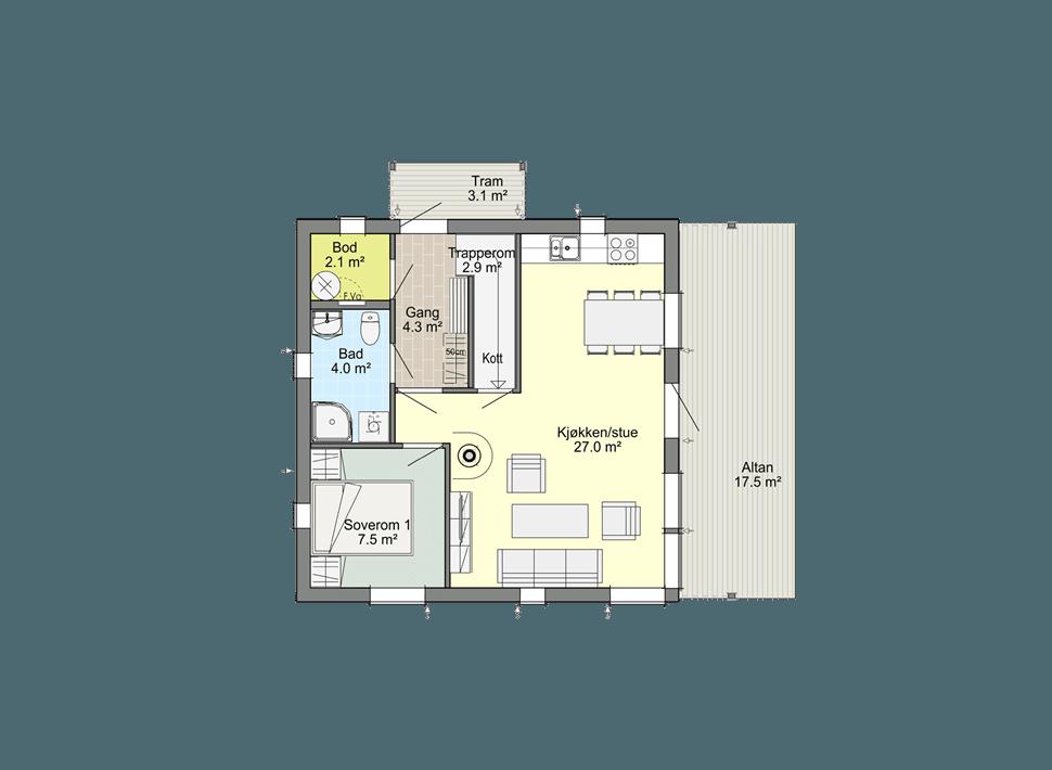 планировка 1-го этажа каркасного коттеджа Смарт 1