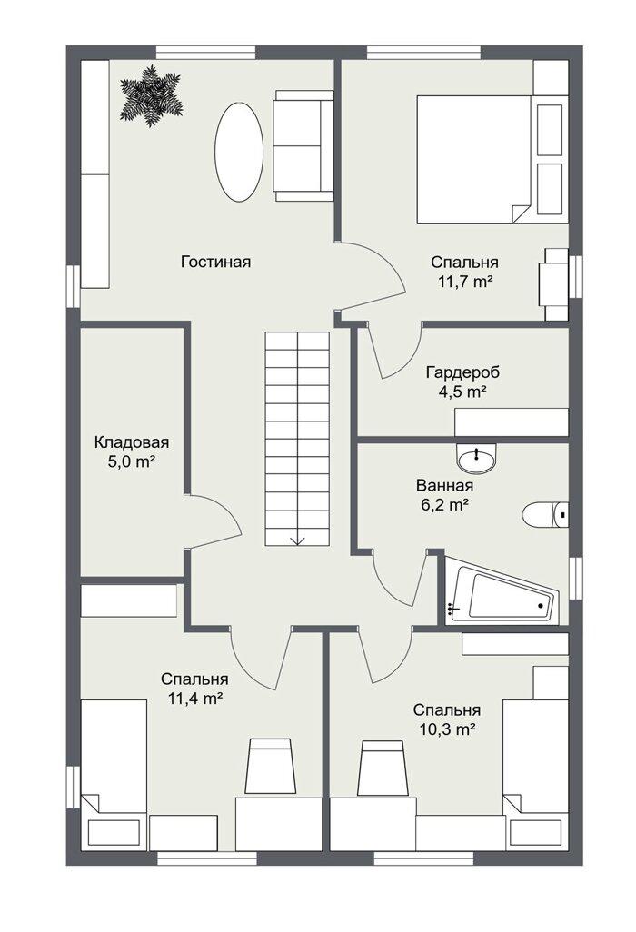 Каркасный дом Галларед планировка 2 этажа