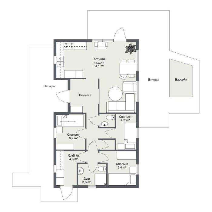 Омберг, шведский одноэтажный каркасный дом. Планировка дома