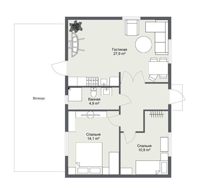 Линдесберг планировка каркасного дома по шведскому проекту