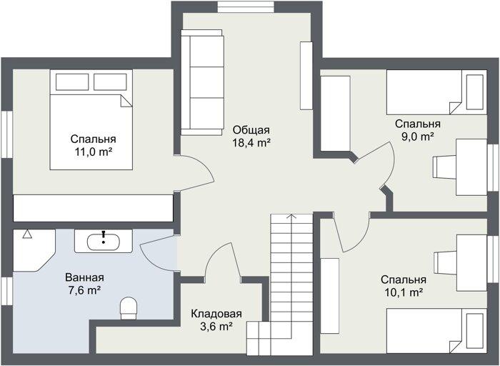 Планировка каркасного дома Хоф 2 этаж
