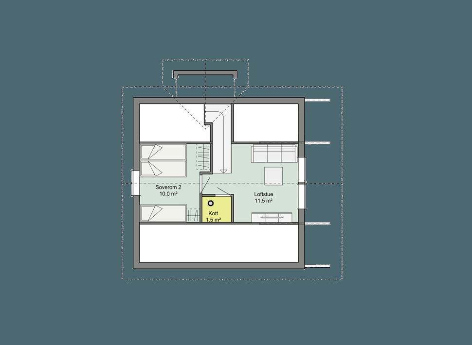 планировка мансардного этажа каркасного коттеджа Смарт 1