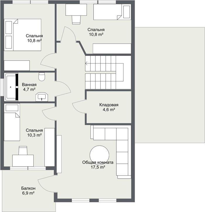 Планировка каркасного дома Треллеборг 2 этаж