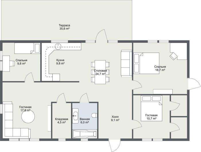 Планировка каркасного финского дома Шеллефтео