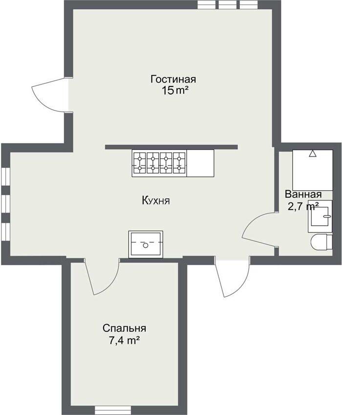 Планировка первого этажа каркасного дома шведского проекта Бурос