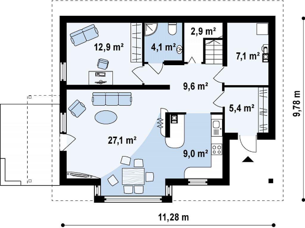 Планировка 1 этажа дома с мансардным этажом