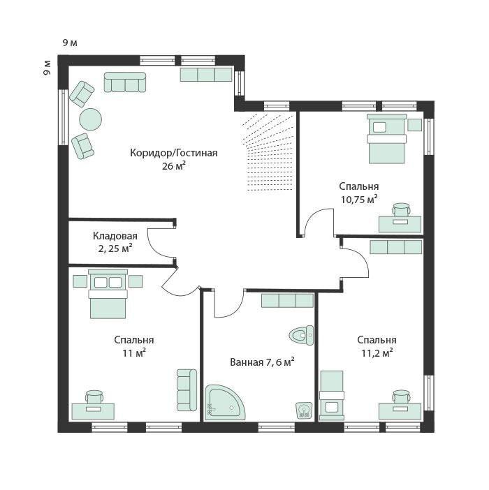 2-й этаж каркасного финского дома Архольм