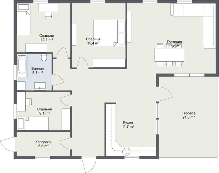 Планировка шведского каркасного дома Седерхамн