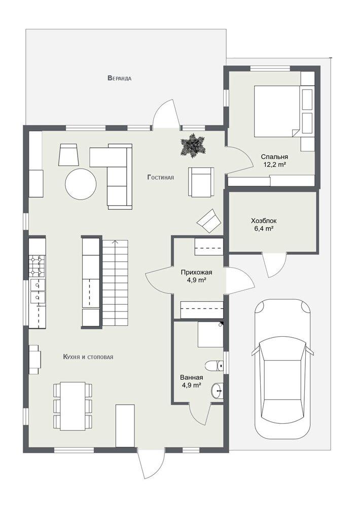 Каркасный дом Галларед планировка 1 этажа