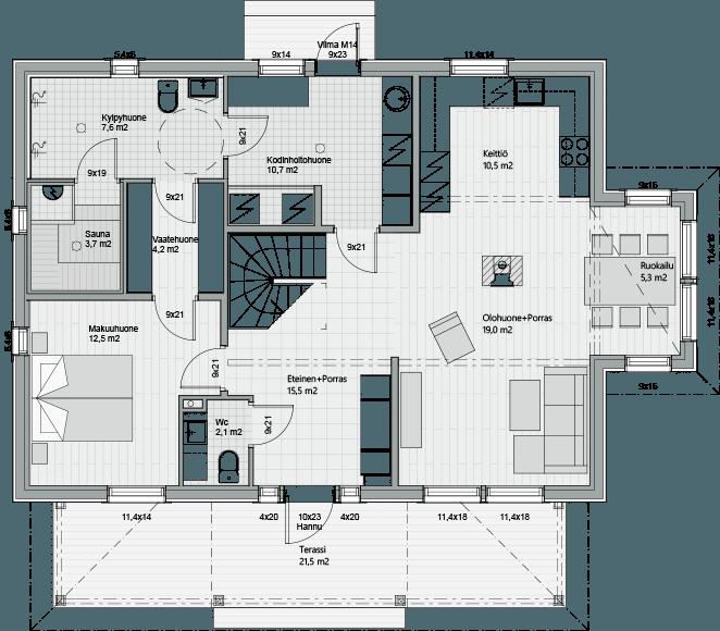Первый этаж каркасного дома Антти 161
